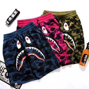 BAPE SHARK Fashion Shark mouth print Camouflage green blue purple shorts pants-2