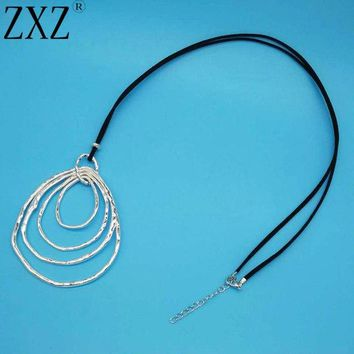 Womens 4 Circle Large Abstract Pendant with Black Cord Chain - Free Shipping