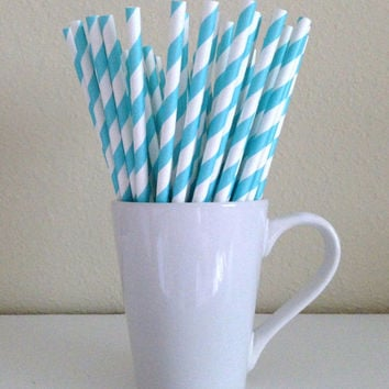 Paper Straws - 25 Tiffany Blue and White Striped Party Straws and DIY Printable Drink Flags / Wedding / Birthday / Baby Shower