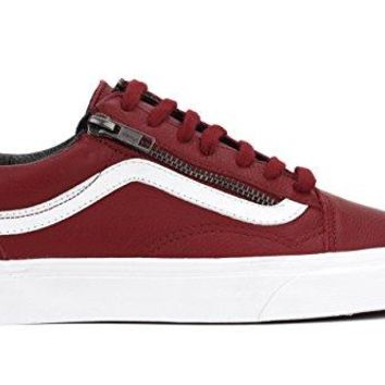 Vans OLD SKOOL ZIP (ANTQUE LEATHER) mens skateboarding-shoes VN-018GJTH_7.5 - Chili Pepper True White