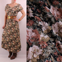 Vintage 90s - Black Ivory Dusty Pink Rose Floral - Long Maxi Dress - Romantic Grunge