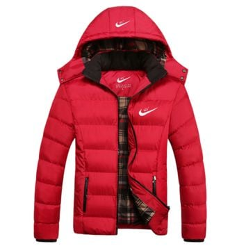 """NIKE"" Men Trending Long Sleeve Cardigan Bread Down Coat Cotton-padded Clothes Jacket G"