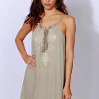 Sweet Smiles Embroidered Dress Light Olive