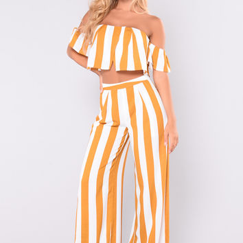 Clarissa Striped Set - Mustard