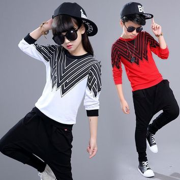 Big children kids boys girls clothing set two piece hip hop dance Harem pants sets autumn spring costume 5 6 8 7 9 10 11 years 5