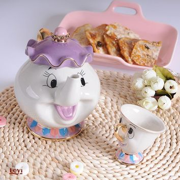 Cartoon Tea Set Beauty And The Beast Mrs Potts Teapot Chip Cup Smile Lovely Creative Xmas Birthday Gift