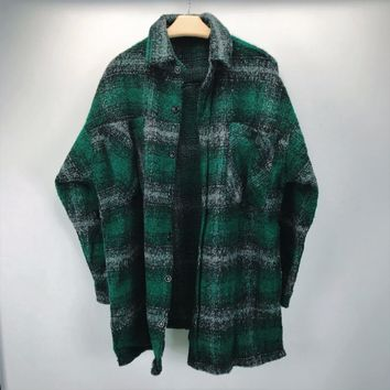 New Arrivals Kanye West Check Pattern Green Tweed Overshirt Spread Collar Cropped Jacket Vented side-seams