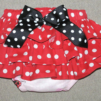Minnie Mouse diaper cover ruffle bloomer sassy pants red and pink polka dot baby photo Size 12m - 18m
