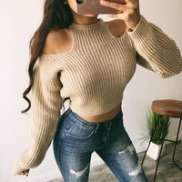 Hailley Cold Shoulder Sweater(Taupe)