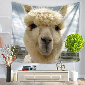 Alpaca themed macrame wall hanging tapestry beach towel home decoration