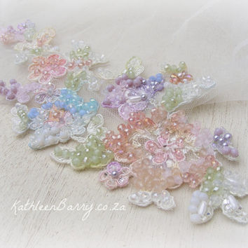 R2200 Pastel Bridal sash belt - for wedding dress - Chantilly lace hand embroidered