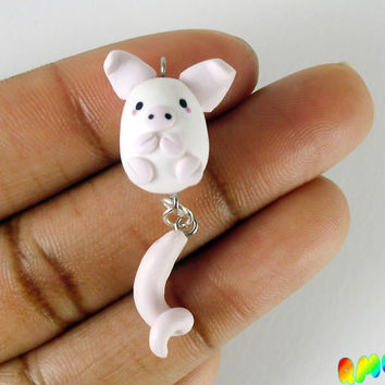 Cute White and Pink Pig Charm, Hand Sculpted, Piggy Charm, Gift Ideas, Polymer Clay