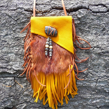 Gold Goat Leather Medicine Bag Natural Mink Fur Labradorite Buffalo Bone Beads, Deerskin leather Fringed Beaded Pouch Necklace