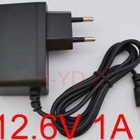 1PCS High quality 12.6V 1000mA 1A 5.5mm*2.1mm Universal AC DC Power Supply Adapter Wall Charger For lithium battery Free