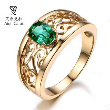 Fashion Glod Color Ring Crown Green Zircon Jewelry rings for Women Crystal Wedding Love-promise Ring Gift AIQICARAT