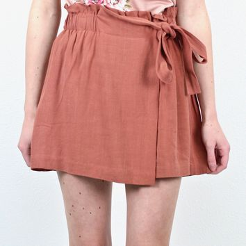Show Me Off Tie Shorts {Marsala} - Size MEDIUM