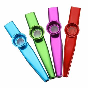 Top Selling 12.5*2cm Kazoo Aluminum Alloy Metal Flute Diaphragm Musical Instrument for Musical Lovers Gift