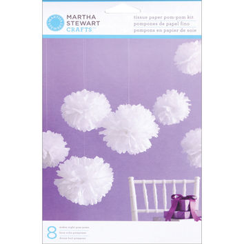 Tissue Paper Pom-Pom Kit Makes 8-White