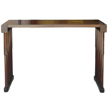 Chinese Feather Wood Bar Pattern Legs Altar Console Table cs985S