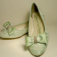 MInt Green Lace Ballet Flats, Bridal Balllet Shoes, Lace Ballerina Slippers,  Wedding Shoes, Bespoke Wedding, Lace and Silk  Satin Bow Shoes