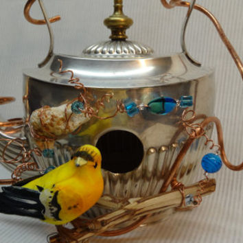 Whimsical, Handmade, Recycled, Silver Plated Teapot Birdhouse- 050