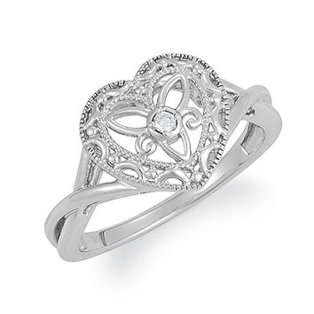 Vintage Style Sterling Silver .025 Ct G-H, I2 Diamond Heart Ring