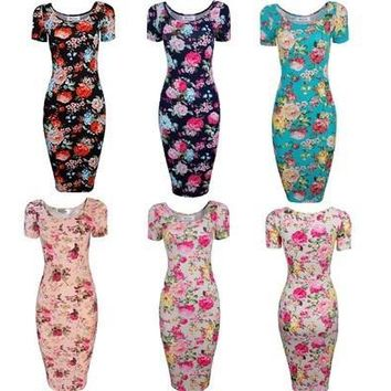 Fashion Women Floral Print Bandage Bodycon Short Sleeve Evening Sexy Party Cocktail Mini Dress [9305605831]