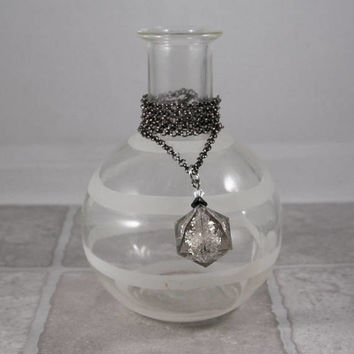 Smoke Quartz Gamescience D20 Dice Necklace - Polycarbonate Tabletop Gaming Jewelry with Crystal Accents