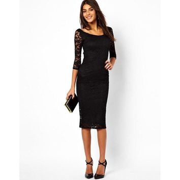 Solid Color Lace Bodycon Fashion Scoop Neck Three Quarter Sleeve Maxi Dress