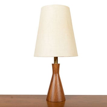 Small Mid Century Modern Table Lamp in Solid Turned Walnut by Phillip Lloyd Powell