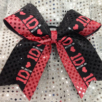 Black & Red 1D One Direction Sparkle Cheer Dance Bow Ribbon