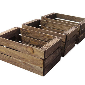 3 Small Wooden Crates Fully Assembled and Dyed Dark Brown