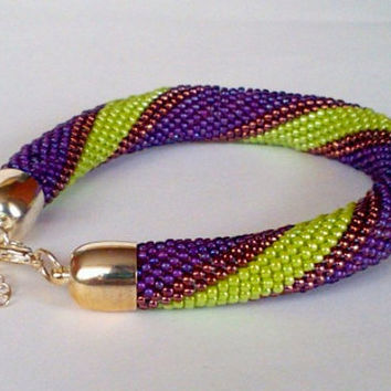 Purple Green Bracelet - Toho Crochet Beaded Jewelry Beadwork