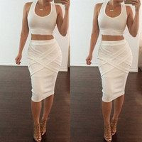 Womens Dress Two Piece Sleeveless Dresses Bodycon Crop Top Set Clubwear Party Dress