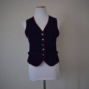 FREE usa SHIPPING Vintage womens double-sided purple corduroy bohemian chic sleeveless vest/top revival 1990's