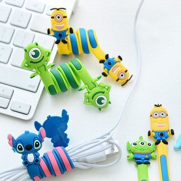 Cartoon Cord Winder Reversal fashion creative Lovely long strip winding thread tool device silicone Small yellow people gifts