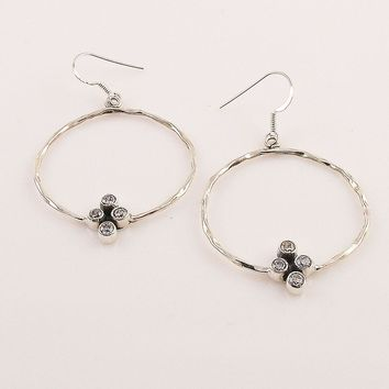 White Topaz Sterling Silver Hoop Earrings