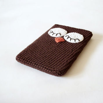 Owl Tablet iPad Case Crocheted Brown
