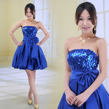 New fashion tube top party sexy vestidos short design girl's 2016 vestido de formatura Cocktail Dresses summer Dress