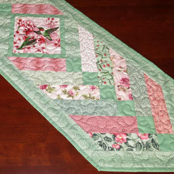 Quilted Pieced Table Runner, French Braid, Hummingbirds, Green and Pink