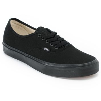 Vans Authentic Lace Up All Black Skate Shoes (Mens)