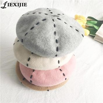 NEW Women's Handmade Sewing wool Hats for Ladies Hat Fashion Small Hoods Elegant Warm Dome Berets pattern hat  pumpkin cap 2017
