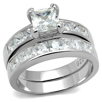 1CT Princess Cut Russian Lab Diamond Bridal Set Wedding Band Ring