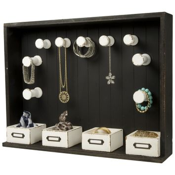 Wooden Wall / Table Top Accessory Organizer / Jewelry Organizer (Distressed Black)