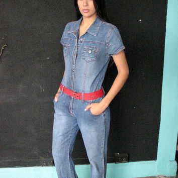 90s DENIM JUMPSUIT m l - 1990s stretch jean catsuit mechanic bell bottom - disco revival club kid raver 70s party spice girls - med lge