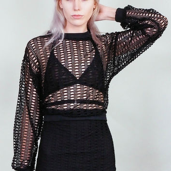 Moirai - Loose weave, open knit sheer black sweater