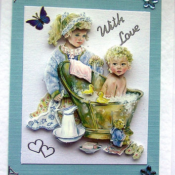 BathTime HandCrafted 3D Decoupage Card  With Love by SunnyCrystals