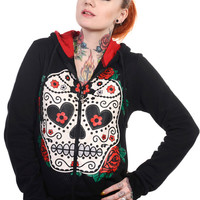 Banned Gothic Day of the Dead Flower Sugar Skull & Rose Women's Hoodie Jacket