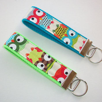 Key FOB / KeyChain / Wristlet - Natural Owl Collection your choice of lime green, blue turquoise, or orange
