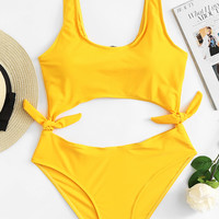 Cut Out Knot Swimsuit -SheIn(Sheinside)